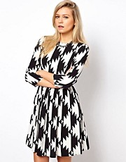 ASOS Skater Dress In Cut About Graphic Shape
