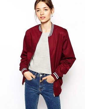Pop Boutique Bomber Jacket With Varsity Trim