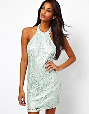 Lipsy Wax Lace Dress with High Neck