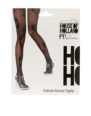 Image 3 ofHouse of Holland For Pretty Polly Animal Fishnet Tights