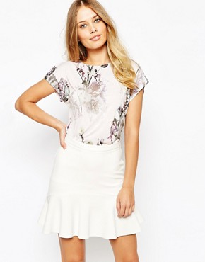 Ted Baker Aclah Torchlit Floral T-Shirt in Pale Pink