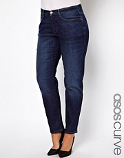ASOS CURVE Boyfriend Jean In Dark Indigo Wash