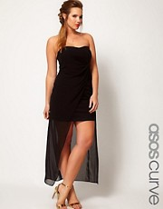 ASOS CURVE Bandeau Dress With Dipped Overlay