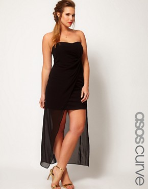 Image 1 ofASOS CURVE Bandeau Dress With Dipped Overlay