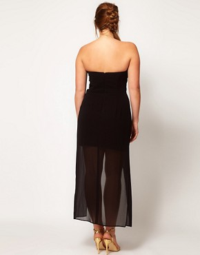 Image 2 ofASOS CURVE Bandeau Dress With Dipped Overlay