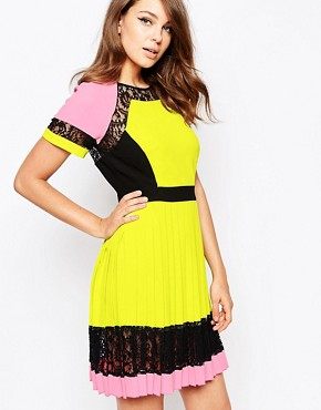 French Connection Arrow Lace Dress in Allsorts Colourblock