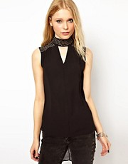 River Island Embellished High Neck Top