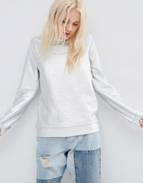 ASOS Sweatshirt In All Over Foil