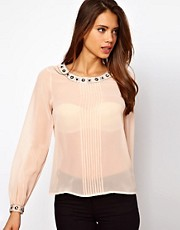Lipsy Embellished Collar and Cuff Blouse