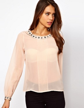 Image 1 ofLipsy Embellished Collar and Cuff Blouse