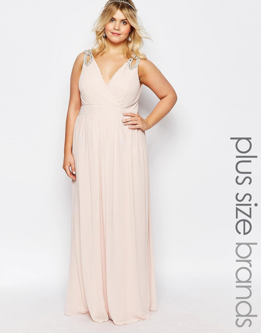 TFNC Plus WEDDING Wrap Embellished Maxi Dress - Pink