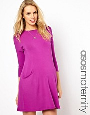 ASOS Maternity Shift Dress With Pockets And 3/4 Sleeve
