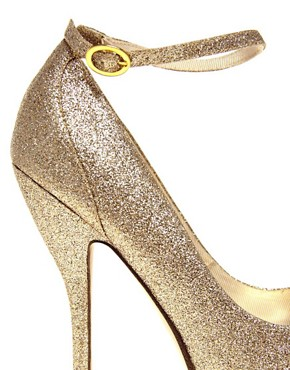 Image 2 ofASOS PARANORMAL Gold Platform Shoe