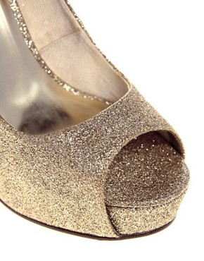 Image 3 ofASOS PARANORMAL Gold Platform Shoe