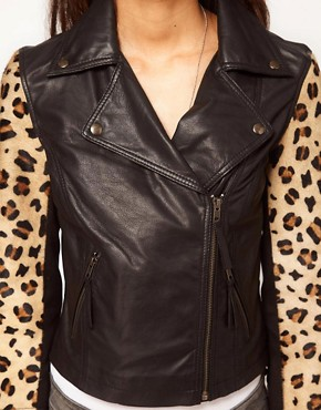 Image 3 ofASOS PETITE Leather Biker jacket With Leopard Sleeves