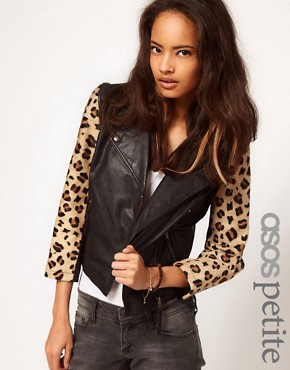 Image 1 ofASOS PETITE Leather Biker jacket With Leopard Sleeves