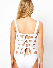 ASOS Caged Bow Back Swimsuit