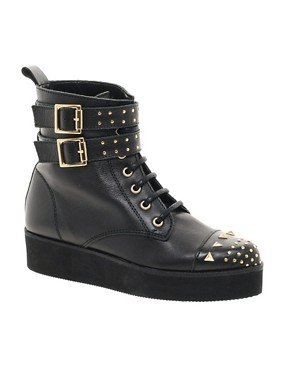 Image 1 ofASOS ALACAZAM Leather Flatform Studded Biker Boots