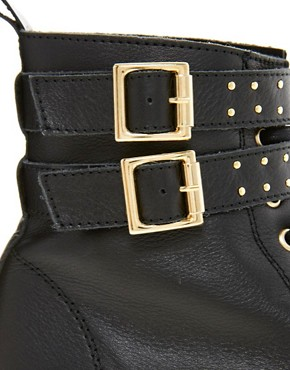 Image 2 ofASOS ALACAZAM Leather Flatform Studded Biker Boots