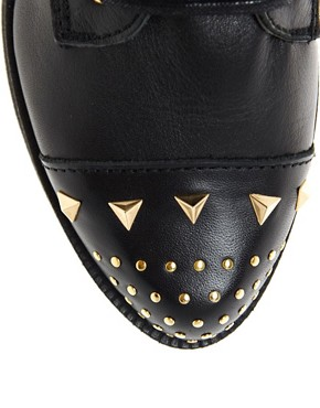 Image 3 ofASOS ALACAZAM Leather Flatform Studded Biker Boots