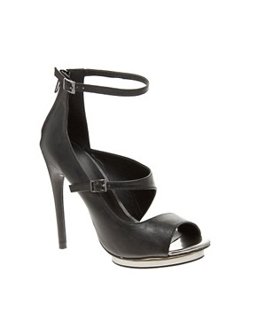 Image 1 ofASOS PLATONIC Peep Toe Heeled Shoes