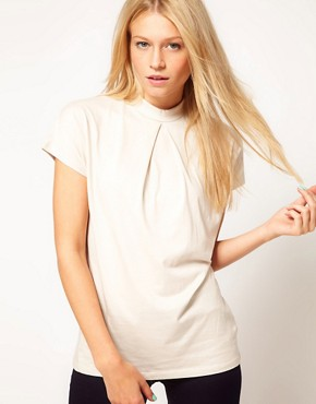Image 1 ofASOS Top with Pleat Front and High Neck