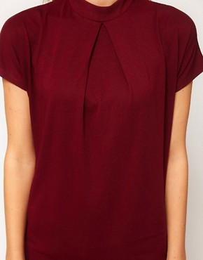 Image 3 ofASOS Top with Pleat Front and High Neck