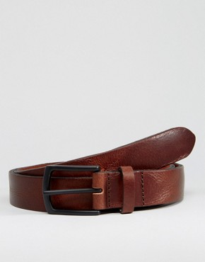 ASOS Leather Belt With Vintage Finish