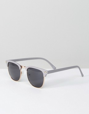 ASOS Retro Sunglasses In Grey And Gold