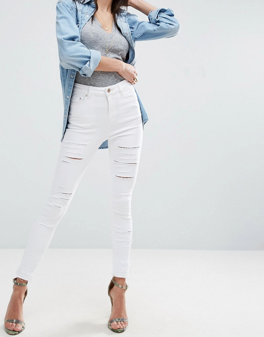 ASOS RIDLEY Skinny Jeans In White with Shredded Rips with Let-Down Hem - White