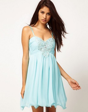 Image 1 ofLittle Mistress Embellished Bodice Prom Dress