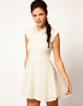 Image 1 ofRiver Island Pearl Collar Skater Dress
