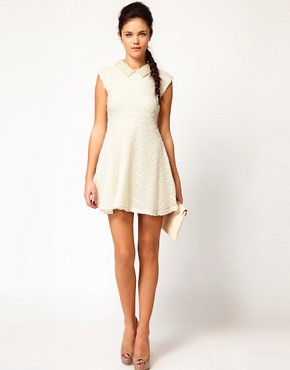 Image 4 ofRiver Island Pearl Collar Skater Dress