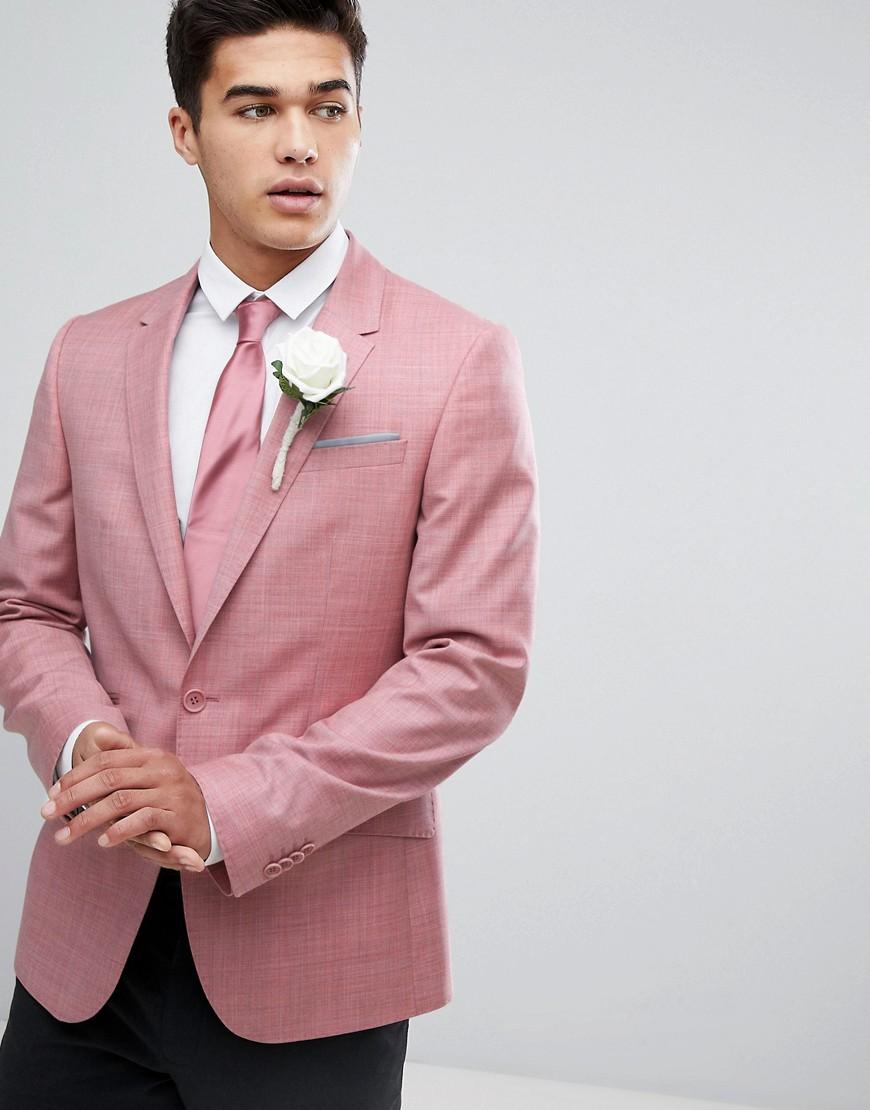Купить Розовый блейзер приталенного кроя из 100% шерсти ASOS WEDDING от ASOS DESIGN розового цвета