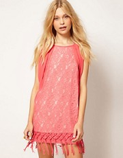 Traffic People Lace Tunic Dress With Tassles