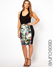 ASOS CURVE Exclusive Pencil Skirt With Floral Panel