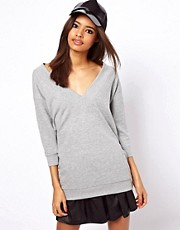 ASOS Sweatshirt with Chunky Rib and V-Neck