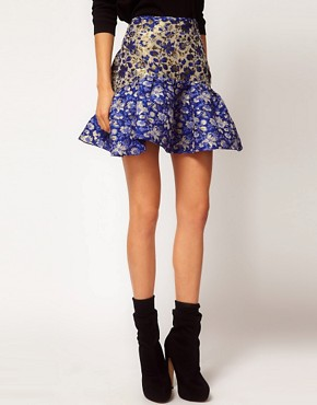 Image 4 ofASOS Jacquard Skirt With Trumpet Hem