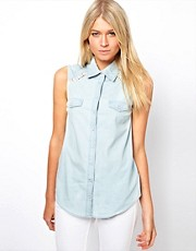 Oasis Lace Insert Chambray Shirt
