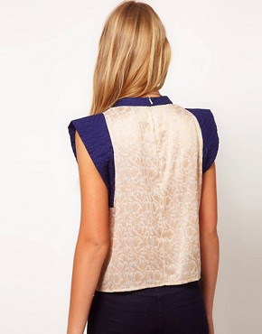Image 2 ofASOS Jacquard Top With Contrast Quilted Sleeve
