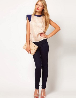 Image 4 ofASOS Jacquard Top With Contrast Quilted Sleeve