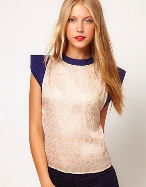 Image 1 ofASOS Jacquard Top With Contrast Quilted Sleeve