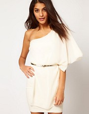 ASOS Drape One Shoulder Dress With Gold Belt