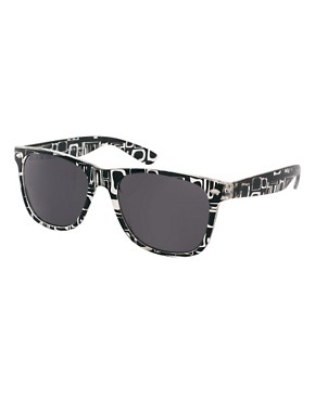 Image 1 ofASOS Printed Black Wayfarer Sunglasses