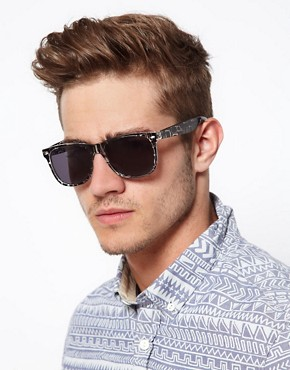 Image 3 ofASOS Printed Black Wayfarer Sunglasses