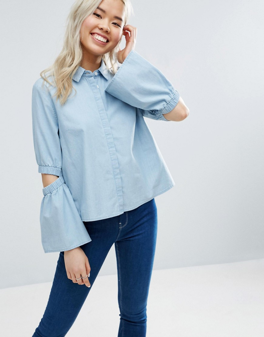 ASOS Denim Shirt with Flared Sleeve and Cold Elbow - Blue