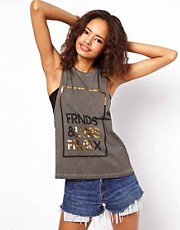 ASOS Vest with Metallic Friends and Lovers Print