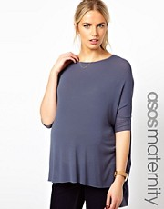 ASOS Maternity Exclusive Loose Knit Drape Top With 3/4 Sleeve