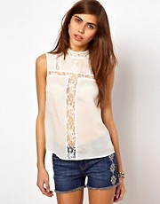 Very By Vero Moda Lace Insert Top