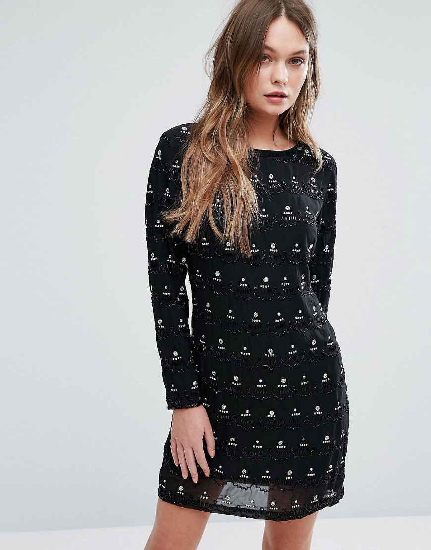 New Look Premium Embellished Shift Dress - Black